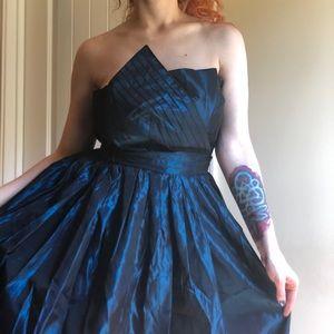 80s Blue & Black Taffeta German Ballgown